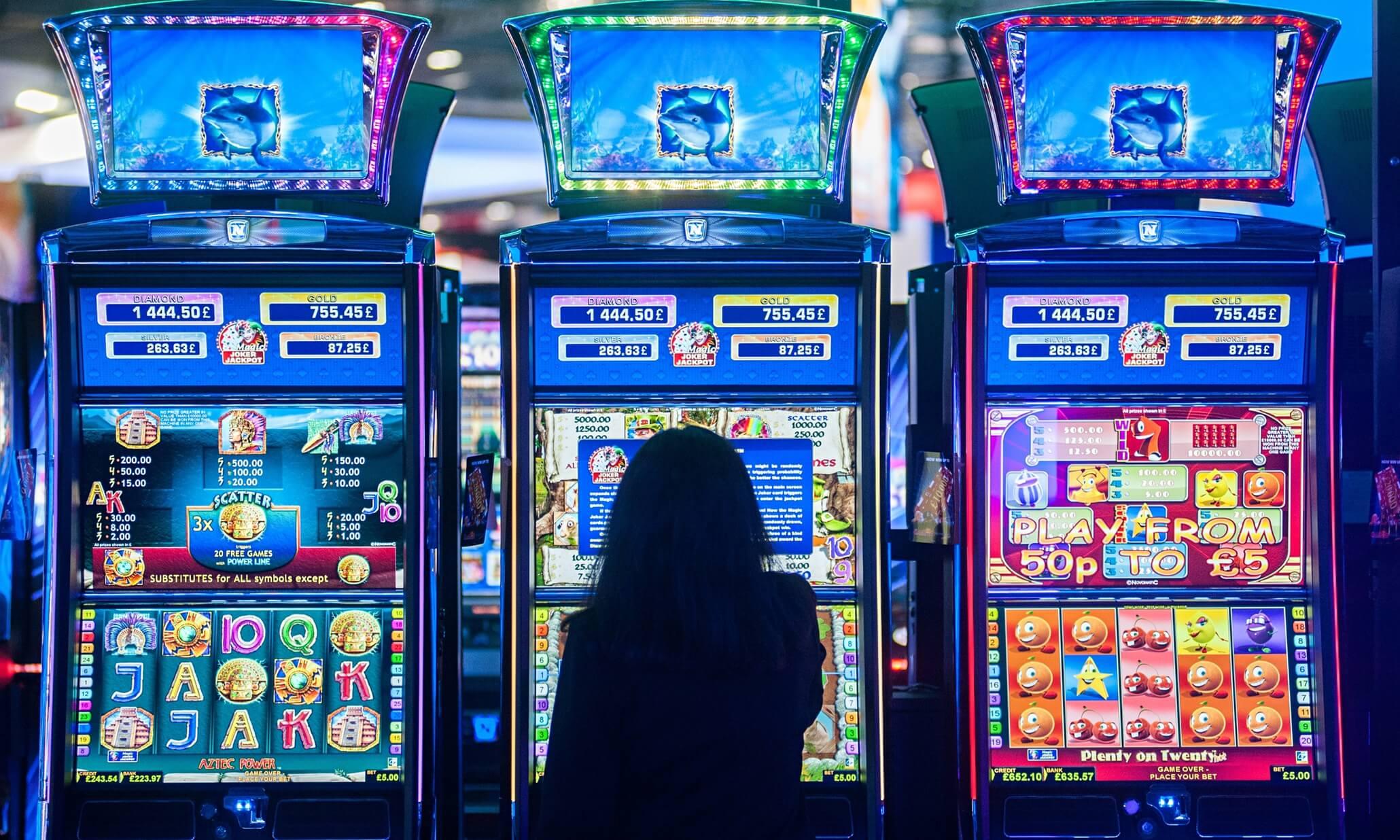 woman play slots